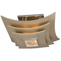 Muse 3 Light 18 inch Tranquility Silver Leaf with Polised Stainless Semi-Flush Ceiling Light