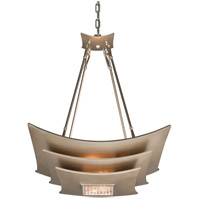 Muse 4 Light 23 inch Tranquility Silver Leaf with Polised Stainless Pendant Ceiling Light