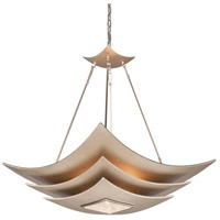 Corbett Lighting Muse 6 Light Pendant in Tranquility Silver Leaf with Polised Stainless 155-46