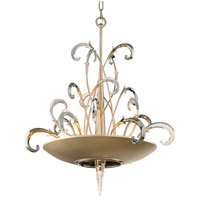 Crescendo 7 Light 28 inch Tranquility Silver Leaf with Polised Stainless Pendant Ceiling Light