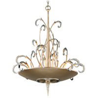 Crescendo 9 Light 34 inch Tranquility Silver Leaf with Polished Stainless Pendant Ceiling Light