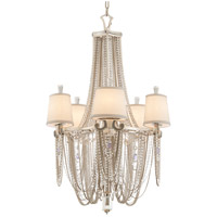 Flirt 5 Light 26 inch Silver Leaf and Polished Stainless Chandelier Ceiling Light