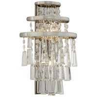 Corbett Lighting Illusion 2 Light Wall Sconce in Silver Leaf and Polished Stainless 170-12
