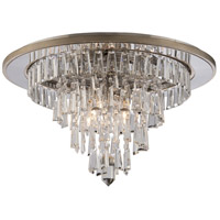 Illusion 4 Light 24 inch Silver Leaf and Polished Stainless Flushmount Ceiling Light