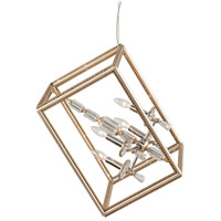 Houdini 4 Light 28 inch Silver and Gold Leaf Pendant Ceiling Light