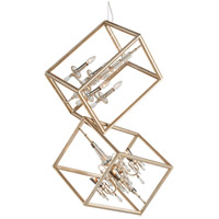 Houdini 8 Light 28 inch Silver and Gold Leaf Pendant Ceiling Light