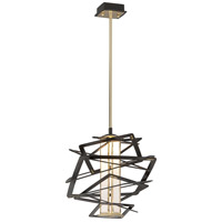 Corbett Lighting Tantrum 1 Light Pendant in Bronze with Polished Brass 186-41