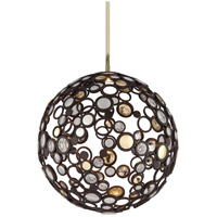 Fathom LED 23 inch Bronze with Polished Brass Pendant Ceiling Light