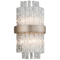 Corbett Lighting 204-12 Chime 2 Light 8 inch Silver Leaf with Polished Stainless Accents Wall Sconce Wall Light