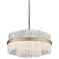 Corbett Lighting Chime 4 Light Pendant in Silver Leaf with Polished Stainless Accents 204-44