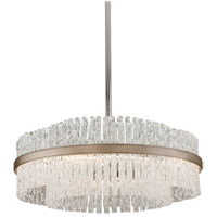 Corbett Lighting Chime 8 Light Pendant in Silver Leaf with Polished Stainless Accents 204-46