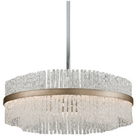 Chime 12 Light 36 inch Silver Leaf with Polished Stainless Accents Pendant Ceiling Light