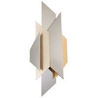 Corbett Lighting 207-12 Modernist 2 Light 12 inch Polished Stainless with Silver and Gold Leaf Wall Sconce Wall Light