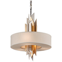 Modernist 4 Light 20 inch Silver And Gold Leaf Pendant Ceiling Light