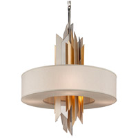 Modernist 6 Light 28 inch Polished Stainless with Silver and Gold Leaf Pendant Ceiling Light