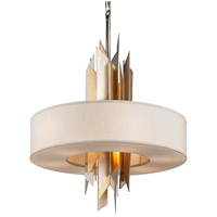 Modernist 8 Light 34 inch Polished Stainless with Silver and Gold Leaf Pendant Ceiling Light