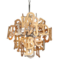 Corbett Lighting Media 4 Light Pendant in Polished Stainless and Multi-Leaf 208-44