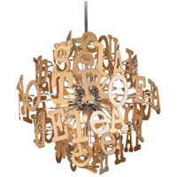 Media 12 Light 30 inch Polished Stainless and Multi-Leaf Pendant Ceiling Light