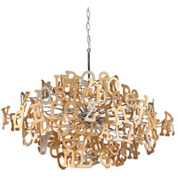 Corbett Lighting Media 6 Light Linear Pendant in Polished Stainless and Multi-Leaf 208-58