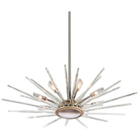 Chill 8 Light 44 inch Silver Leaf and Polished Stainless Pendant Ceiling Light