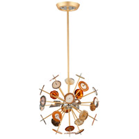 Meteor 3 Light 18 inch Textured Gold Leaf Pendant Ceiling Light