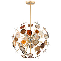 Meteor 6 Light 27 inch Textured Gold Leaf Pendant Ceiling Light