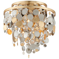 Corbett Lighting Ambrosia Ceiling Flush Mount - Gold and Silver Leaf Finish with Clear Crystal Drops 215-33
