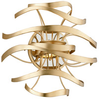 Calligraphy LED 12 inch Gold Leaf with Polished Stainless Accents Wall Sconce Wall Light