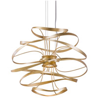 Calligraphy LED 18 inch Gold Leaf with Polished Stainless Accents Pendant Ceiling Light