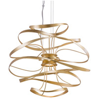 Calligraphy LED 26 inch Gold Leaf with Polished Stainless Accents Pendant Ceiling Light