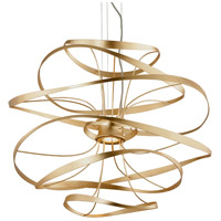 Calligraphy LED 34 inch Gold Leaf with Polished Stainless Accents Pendant Ceiling Light
