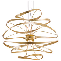 Calligraphy LED 42 inch Gold Leaf with Polished Stainless Accents Pendant Ceiling Light