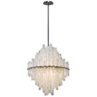 Corbett Lighting Manhatten LED Pendant - 27 inch - Satin Silver Leaf Finish with Clear and Frosted Glass Tubes 219-43