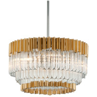 Corbett Lighting Charisma Pendant - 36 inch - Gold Leaf with Polished Stainless Finish with Clear Crystal 220-410