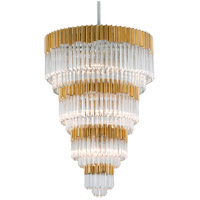 Corbett Lighting Charisma 17-Light Pendant - Gold Leaf with Polished Stainless Finish with Clear Crystal 220-717