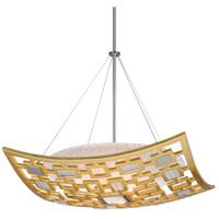 Motif 3 Light 26 inch Gold Leaf with Polished Stainless Accents Pendant Ceiling Light