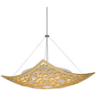 Motif 4 Light 34 inch Gold Leaf with Polished Stainless Accents Pendant Ceiling Light