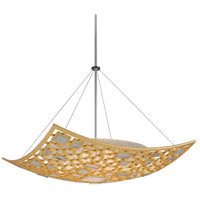 Motif 5 Light 42 inch Gold Leaf with Polished Stainless Accents Pendant Ceiling Light