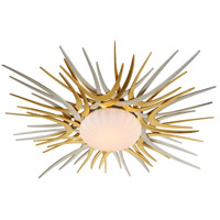 Helios LED 49 inch Silver and Gold Leaf Flush Mount Ceiling Light