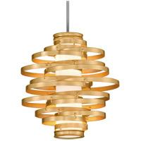 Corbett Lighting 225-42 Vertigo LED 18 inch Gold Leaf with Polished Stainless Accents Pendant Ceiling Light