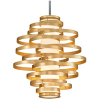 Vertigo LED 23 inch Gold Leaf with Polished Stainless Accents Pendant Ceiling Light
