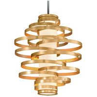 Vertigo LED 30 inch Gold Leaf with Polished Stainless Accents Pendant Ceiling Light
