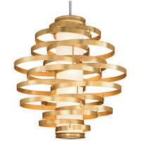 Vertigo LED 45 inch Gold Leaf with Polished Stainless Accents Pendant Ceiling Light