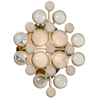 Corbett Lighting Blurr LED Wall Sconce - Modern Silver Leaf Finish with Rock Crystals and Clear Optical Discs 237-11