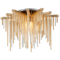 Theory LED 21 inch Gold Leaf with Polished Stainless Semi-Flush Mount Ceiling Light