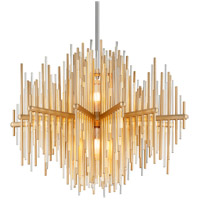Corbett Lighting 238-42 Theory LED 30 inch Gold Leaf with Polished Stainless Pendant Ceiling Light