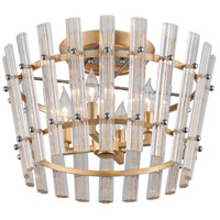 Sauterne 4 Light 19 inch Gold Leaf with Polished Stainless Semi-Flush Mount Ceiling Light