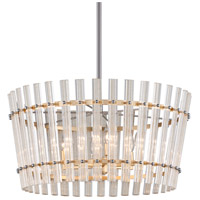 Sauterne 6 Light 29 inch Gold Leaf with Polished Stainless Pendant Ceiling Light