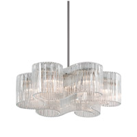 Circo 6 Light 27 inch Satin Silver Leaf Pendant Ceiling Light