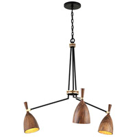 Corbett Lighting 280-03 Utopia LED 40 inch Satin Black and Polished Brass Chandelier Ceiling Light